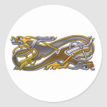 2 Dogs Celtic knot work Classic Round Sticker