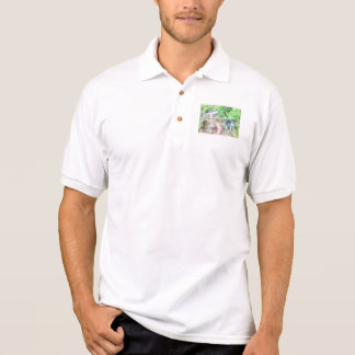 2 dogs on a path polo t-shirt
