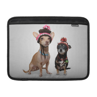 2 dogs with funny hats sleeve for MacBook air