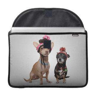2 dogs with funny hats sleeve for MacBooks