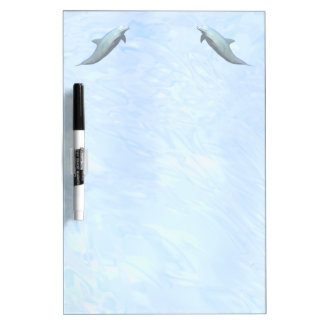 2 Dolphins on Watery Background Dry-Erase Boards