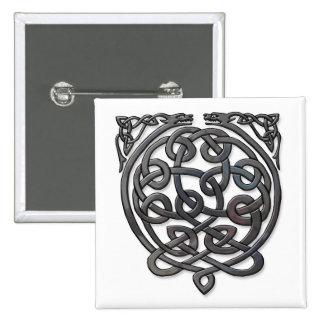 2 Dragons black chrome Pinback Buttons
