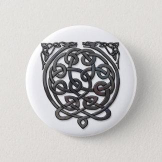 2 Dragons black chrome Pinback Button