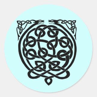 2 dragons-BW Classic Round Sticker