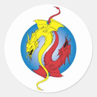 2 Dragons Classic Round Sticker