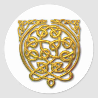 2 dragons-gold classic round sticker
