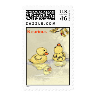 2 ducks in a pond. postage
