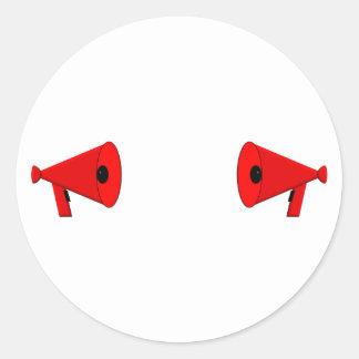 2 dueling bullhorns classic round sticker