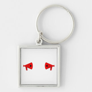 2 dueling bullhorns Silver-Colored square keychain