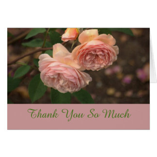 """""""2 DUSKY PINK ROSES /THANK YOU SO MUCH"""" STATIONERY NOTE CARD"""