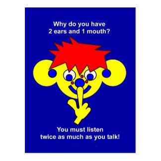 2 ears 1 mouth postcard