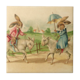 2 Easter bunnies on lambs Ceramic Tile