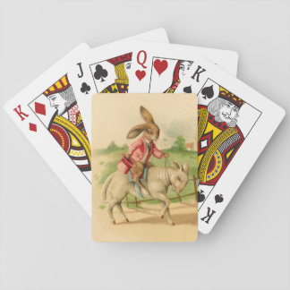 2 Easter bunnies on lambs deck Playing Cards