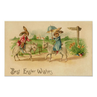 2 Easter bunnies on lambs print