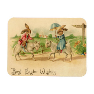 2 Easter bunnies on lambs Rectangular Photo Magnet