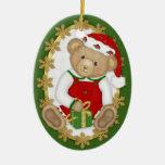 2 echado a un lado - feliz ornamento del oso de adornos de navidad