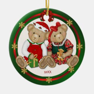 2 echado a un lado - feliz ornamento del oso de pe adorno de reyes