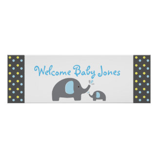 2 Elephants Baby Shower Sprinkle Party Banner Poster