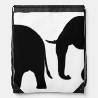 2 Elephants Silhouette black + your background Drawstring Bag