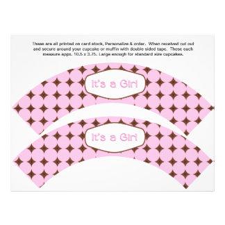 2 envolturas personalizadas bebé rosado de la magd tarjetones