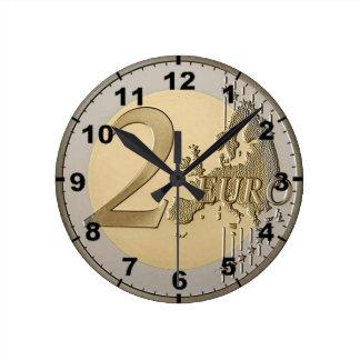 """2 Euro Coin"" design wall clocks"