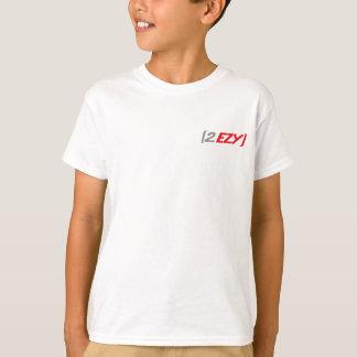 """""""2 EZY"""" kids red & grey logo on a light t-shirt"""