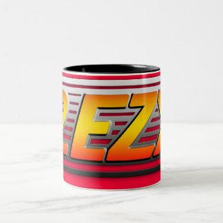 """2 EZY"" men's red and steel effect mug"