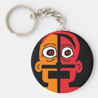 2 face basic round button keychain