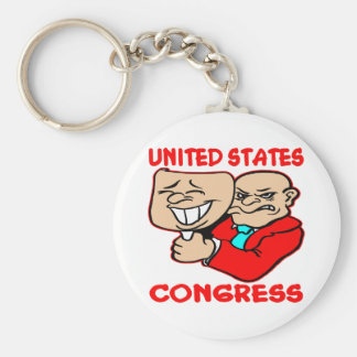 2 Faced Lying U.S. Congress Basic Round Button Keychain