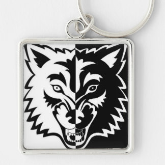 2 faces Silver-Colored square keychain
