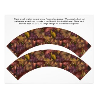 2 Fall Leaves Personalize Cupcake Wrappers Custom Flyer