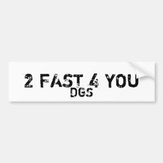 2 FAST 4 YOU, DGS BUMPER STICKER