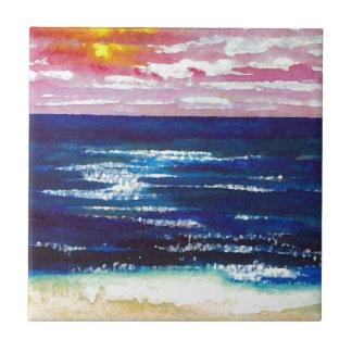 2 felices - Regalos del arte de la playa de la Azulejo Cuadrado Pequeño