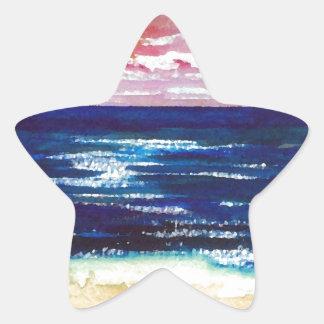 2 felices - Regalos del arte de la playa de la Pegatina En Forma De Estrella