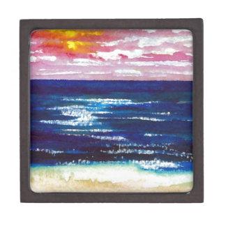 2 felices - Regalos del arte de la playa de la pue Caja De Recuerdo De Calidad