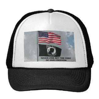 2 flages, NEVER FOR GET THE COST OF OUR FREEDOM Trucker Hat