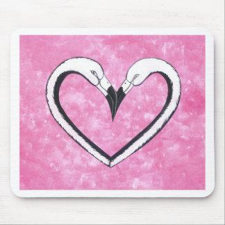 2 Flamingo kiss heart Mouse Pad