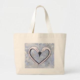 2 Flamingo kiss heart on blue Canvas Bags