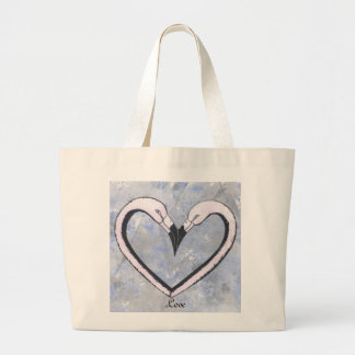 2 Flamingo kiss heart on blue Tote Bags