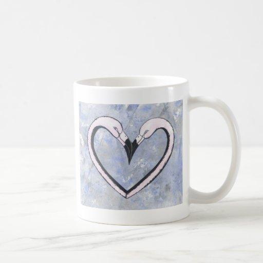 2 Flamingo kiss heart on blue Coffee Mug