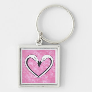 2 Flamingo kiss heart Silver-Colored Square Keychain