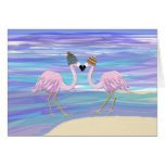 2 Flamingos in Knitted Hats Greeting Cards