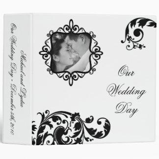 """2"""" floral blanco del negro del libro de recuerdos carpeta 2"""""""