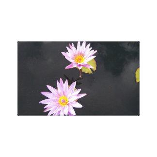 2 flores de Lotus rosadas Impresiones De Lienzo