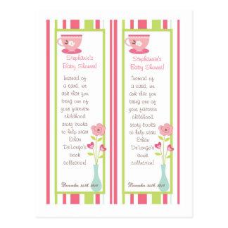 2 flores del pastel del rosa de la fiesta del té d postal