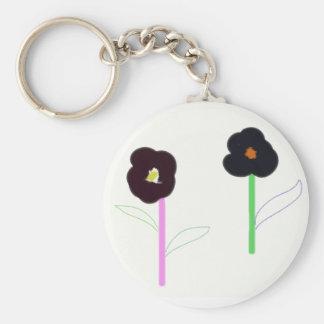 2 flowers basic round button keychain