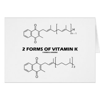 2 Forms Of Vitamin K (Chemical Molecules) Greeting Card