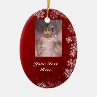 2 fotos/ornamento lateral rojo y azul adorno navideño ovalado de cerámica