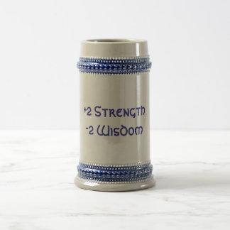 +2 fuerza, sabiduría -2 jarra de cerveza