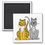 2 Funny Cartoon Alley Cats with Whiskers 2 Inch Square Magnet